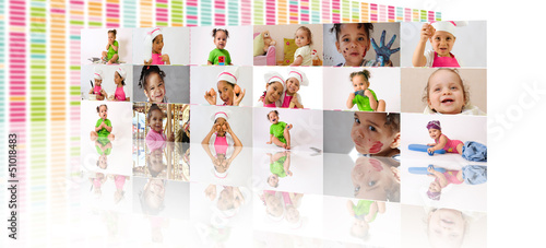 Mur de photos d'enfants