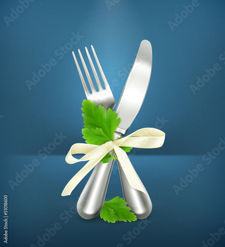 Table knife and fork with parsley, icon
