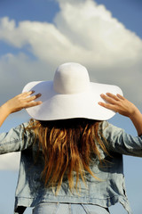 girl,  blue, hat, back side view, relax, women
