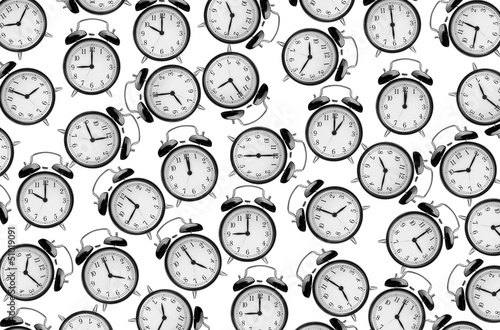 Leinwandbild Motiv alarm clocks on white