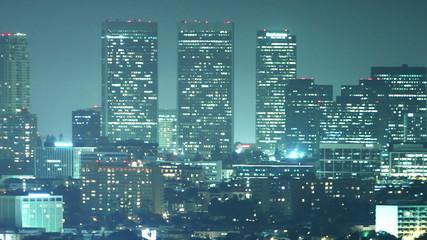 urban downtown at night, time lapse