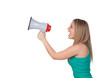 Profile of a blond girl with a megaphone