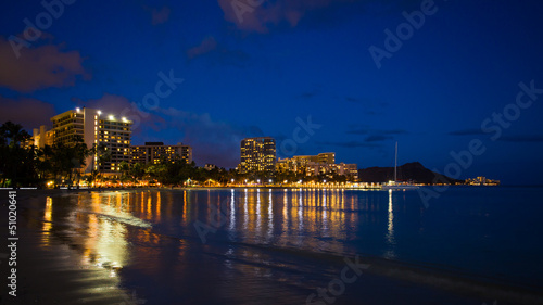Waikiki beach at night, Honolulu Hawaii