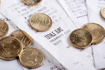 scontrini fiscali con monete