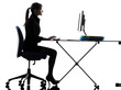 business woman computer computing  typing silhouette