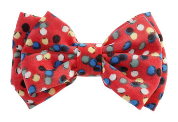 Dotted bow tie red with multicolor spots