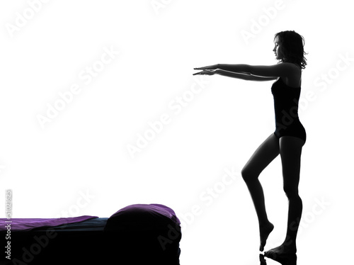 woman sleepwalking silhouette