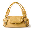 Elegant golden leather chained handbag