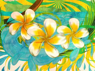 Grunge plumeria flowers