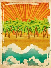 Grunge sunset island