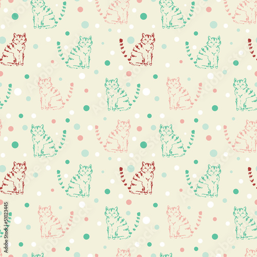 Cute funny seamless pattern with cats