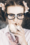 Edgy grunge portrait of a smoking hipster nerd