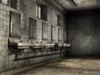 Stara brudna łazienka publiczna