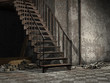 Żelazne schody w opuszczonym budynku