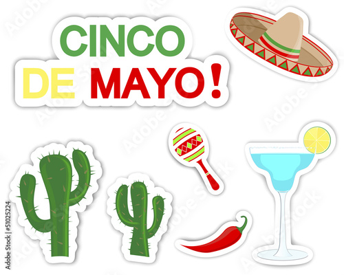 Cinco De Mayo. Set of stickers.