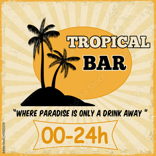 Tropical bar vintage poster