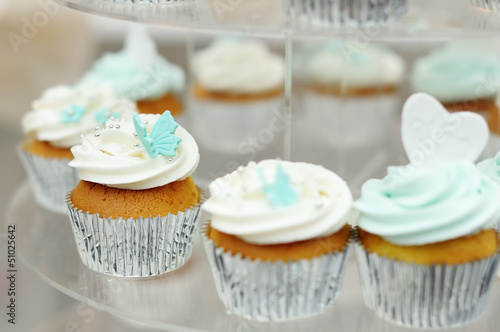 Delicious colorful wedding cupcakes