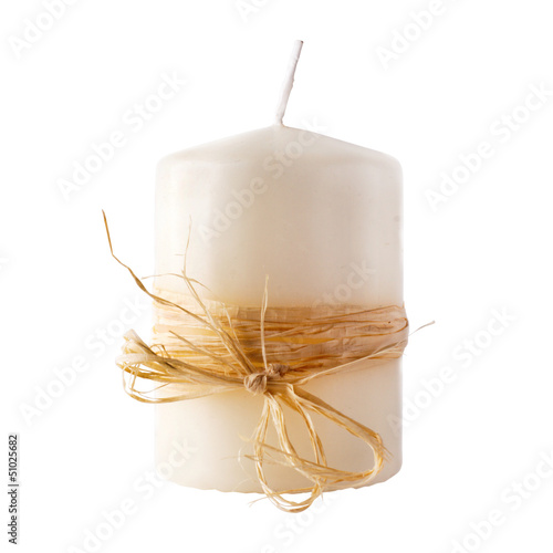 White candle isolated on white background. clipping path