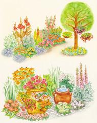 garden design and flowered beds with flowerpot