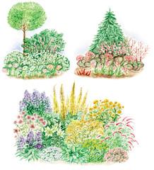 garden design of flowered beds