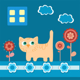 Vector background with cat