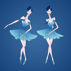 Vector illustration of ballerinas