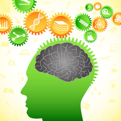 vector illustration of human brain thinking of intelligent idea