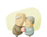 elderly couple holding a piggy bank