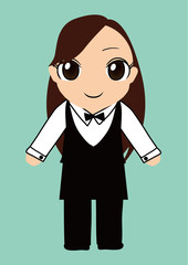 バーテンダー制服の女の子ベクターイラスト