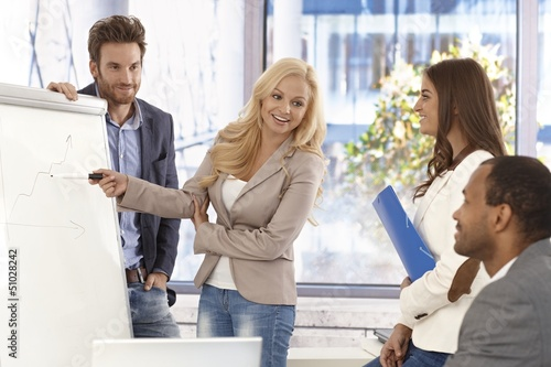Attractive businesswoman presenting to colleagues