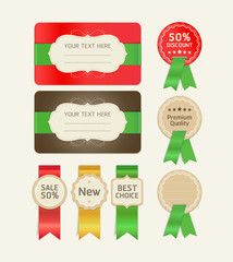 Set of promotion cards design with ribbons.
