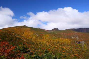 Mt. Adatarayama in autumn, Fukushima, Japan
