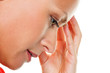 Nachdenkliche Frau mit Kopfschmerzen