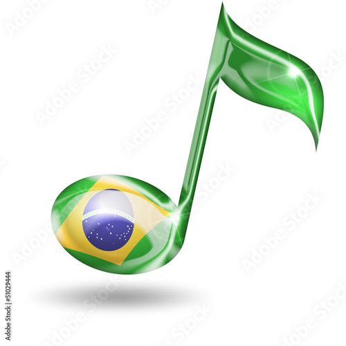 musical note with brazilian flag colors