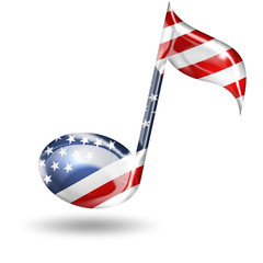 musical note with american flag colors