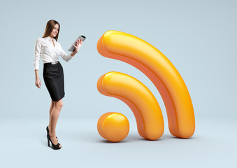 Wifi icon. Businesswoman with Wireless network symbol.