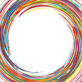 Abstract rainbow curved lines frame circle colorful background