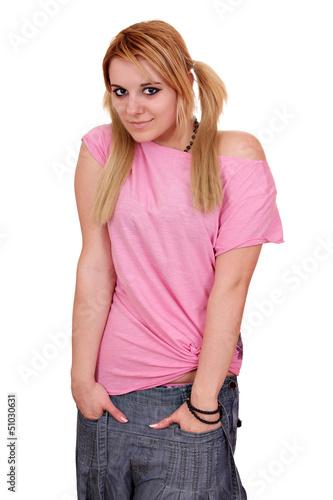 beautiful teenage girl posing on white background