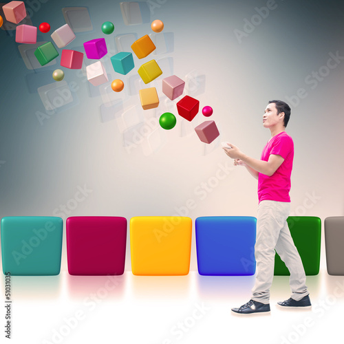 Man With Smart Phone,3D Imagination
