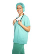 Happy nurse or doctor in scrubs