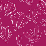 seamless floral pattern with magnolia flowers