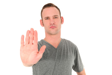 Man making a Stop gesture