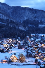 Light up of Shirakawago Gassho Village, Japan