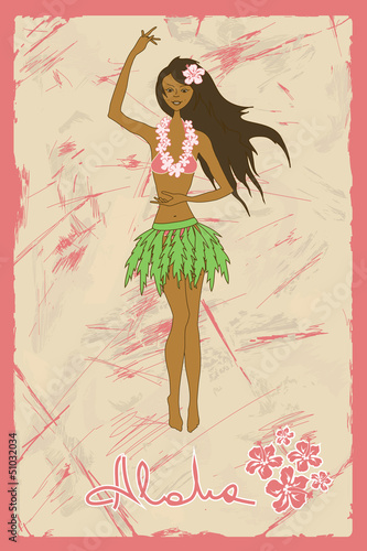 Illustration of girl dancing hula