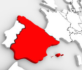 Spain Abstract 3D Map Country Nation in Europe