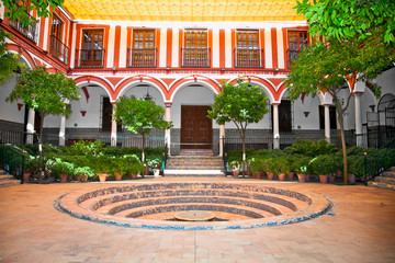 Typical andalusian courtyard with fountain, Seville, Spain.
