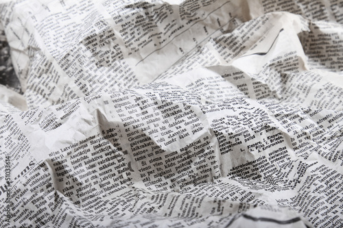 Staande foto Kranten background of old crumpled newspaper