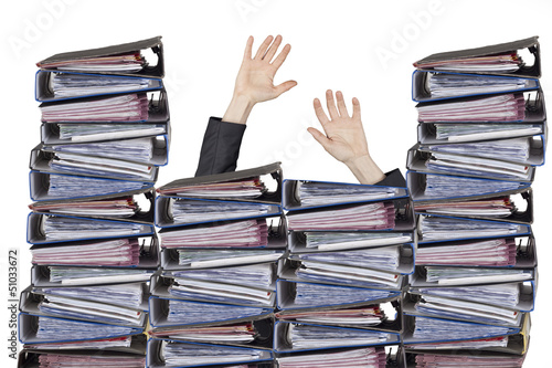Busy officer hands with files