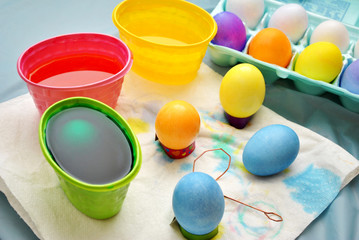 Messy Easter Egg Coloring