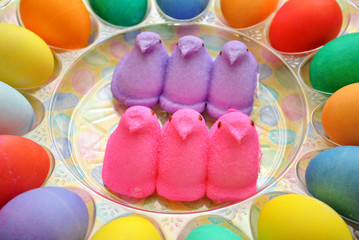 Marshmellow Chicks with Easter Eggs